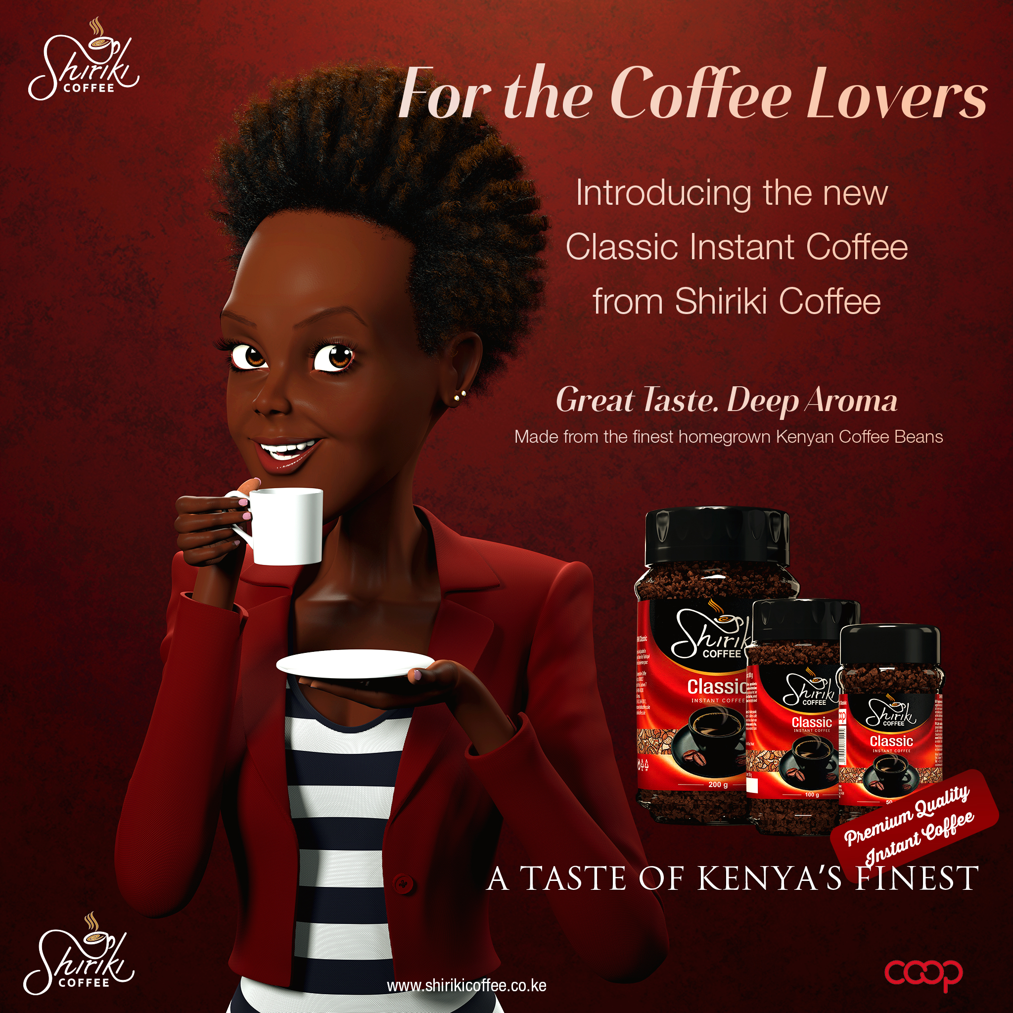 Shiriki brewed Coffee commercial still character mascot - 3d animation - 3d design - epic animation studios kenya